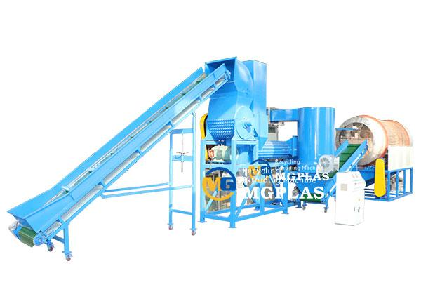 Cap and label removing machine line for HDPE PET plastic bottles